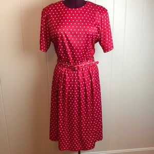 Vintage 80s/90s Style Red White Polka Dotted Dress